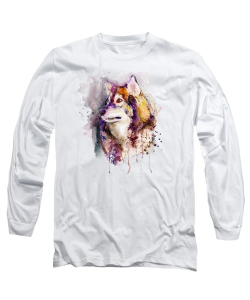 Watercolor Wolf Portrait Long Sleeve T-Shirt