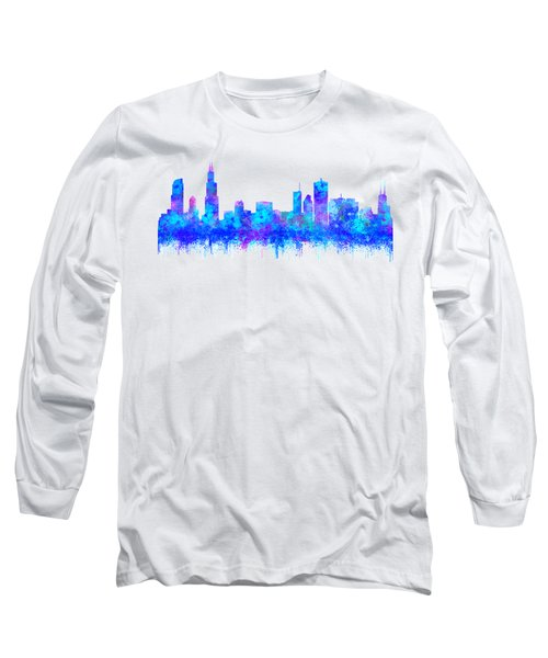 Long Sleeve T-Shirt featuring the painting Watercolour Splashes And Dripping Effect Chicago Skyline by Georgeta Blanaru