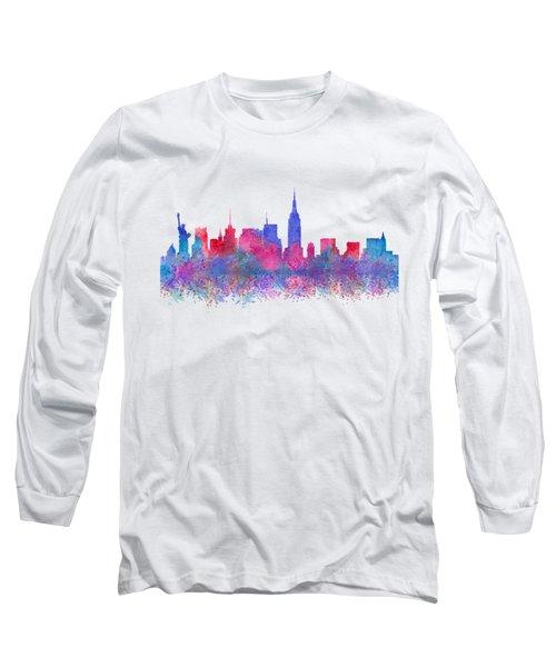 Watercolour Splashes New York City Skylines Long Sleeve T-Shirt