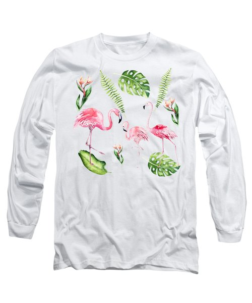 Long Sleeve T-Shirt featuring the painting Watercolour Tropical Beauty Flamingo Family by Georgeta Blanaru