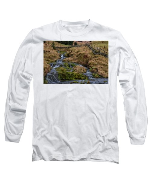 Long Sleeve T-Shirt featuring the photograph Waterfall At Glendevon In Scotland by Jeremy Lavender Photography