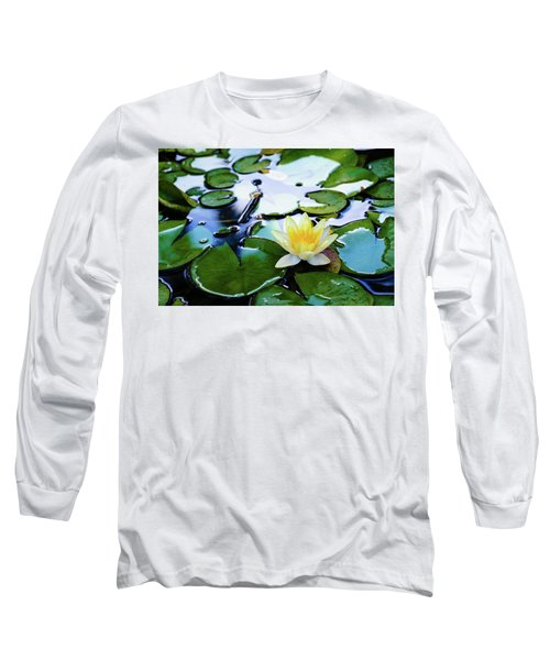 Waterlilly On Blue Pond Long Sleeve T-Shirt