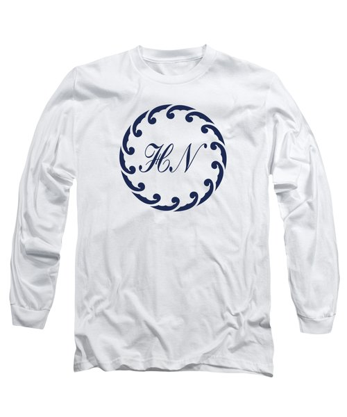 Wave Ring And Cipher In Blue Long Sleeve T-Shirt