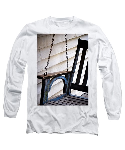 Weathered Porch Swing Long Sleeve T-Shirt by Debbie Karnes