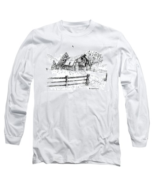 Weeping Willow And Barn One Long Sleeve T-Shirt