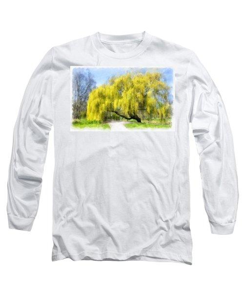 Weeping Willow Aquarell Long Sleeve T-Shirt