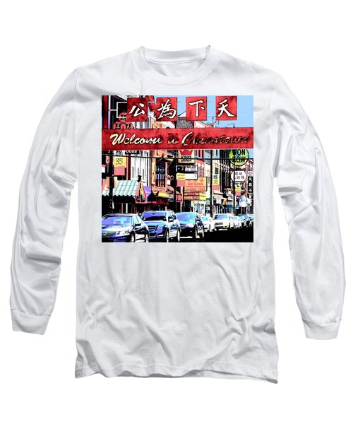 Welcome To Chinatown Sign Red Long Sleeve T-Shirt by Marianne Dow
