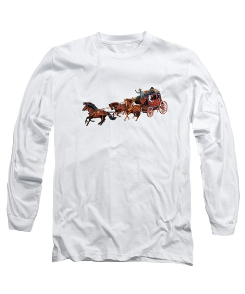 Wells Fargo Stagecoach Long Sleeve T-Shirt by Glenn Holbrook
