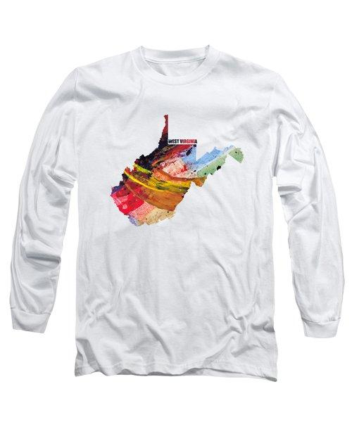 West Virginia Map Art - Painted Map Of West Virginia Long Sleeve T-Shirt