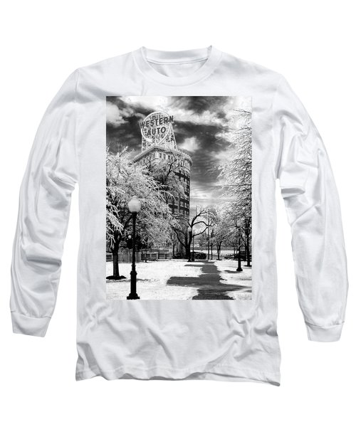 Western Auto In Winter Long Sleeve T-Shirt by Steve Karol