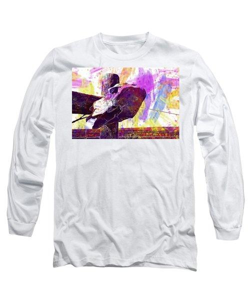 Long Sleeve T-Shirt featuring the digital art Western Skull Farm Trophy Skeleton  by PixBreak Art