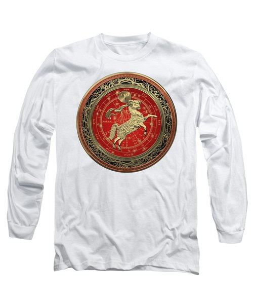 Western Zodiac - Golden Aries -the Ram On White Leather Long Sleeve T-Shirt