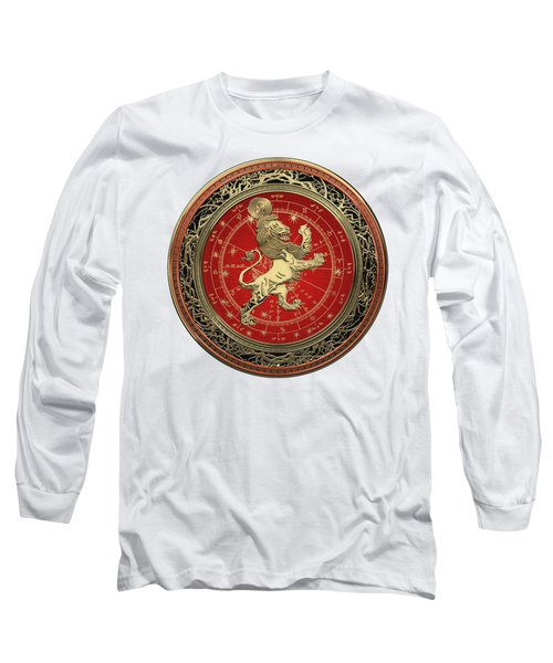 Western Zodiac - Golden Leo - The Lion On White Leather Long Sleeve T-Shirt