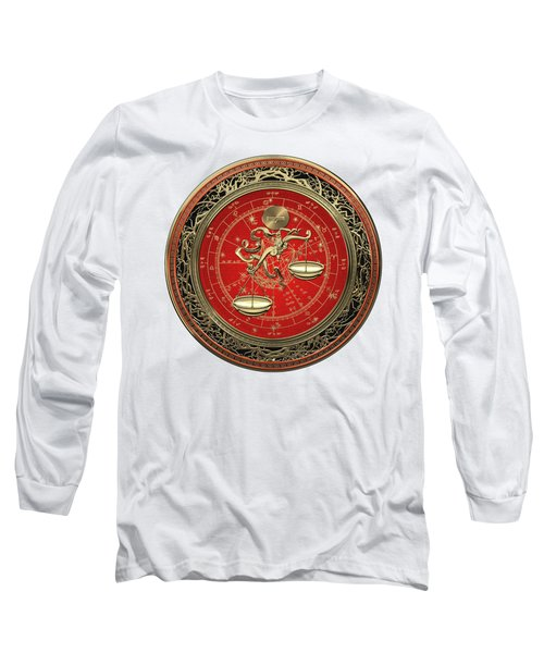 Western Zodiac - Golden Libra -the Scales On White Leather Long Sleeve T-Shirt