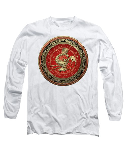 Western Zodiac - Golden Scorpio - The Scorpion On White Leather Long Sleeve T-Shirt