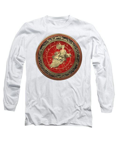Western Zodiac - Golden Virgo - The Maiden On White Leather Long Sleeve T-Shirt