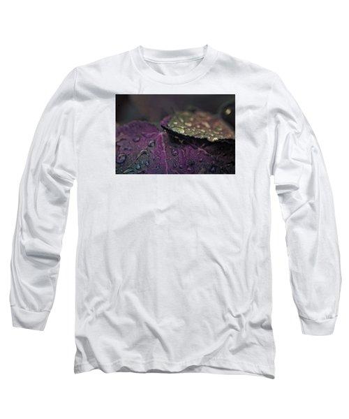 Wet Purple Leaves Long Sleeve T-Shirt by Bonnie Bruno