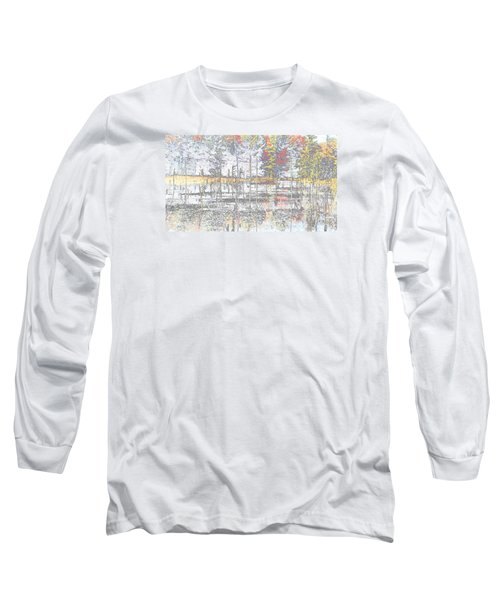 Wetland Reflections Abstract Long Sleeve T-Shirt by Mike Breau