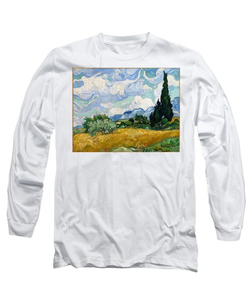 Long Sleeve T-Shirt featuring the painting Wheatfield With Cypresses by Van Gogh