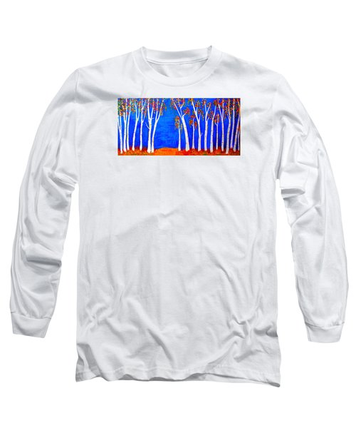 Long Sleeve T-Shirt featuring the painting Whimsical Birch Trees by Haleh Mahbod