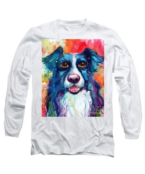 Whimsical Border Collie Dog Portrait Long Sleeve T-Shirt by Svetlana Novikova