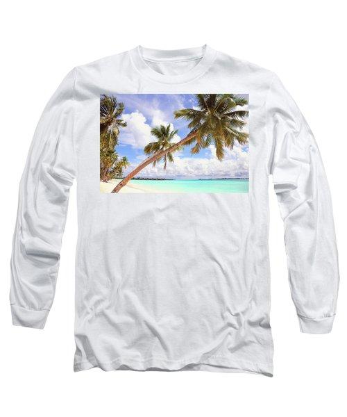 Whispering Palms. Maldives Long Sleeve T-Shirt by Jenny Rainbow