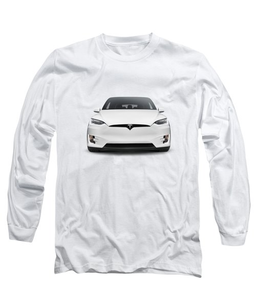 White 2017 Tesla Model X Luxury Suv Electric Car Front Isolated Art Photo Print Long Sleeve T-Shirt