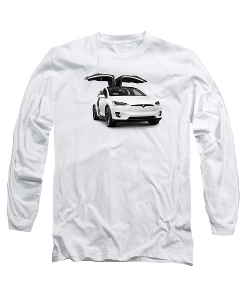 White 2018 Tesla Model X Luxury Suv Electric Car With Open Falcon Wing Doors  Long Sleeve T-Shirt