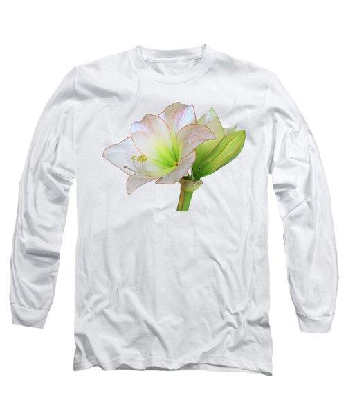 White Amaryllis On White Long Sleeve T-Shirt