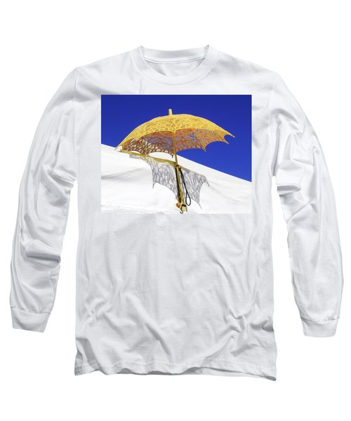 White At Base And Yellow On Blue Long Sleeve T-Shirt