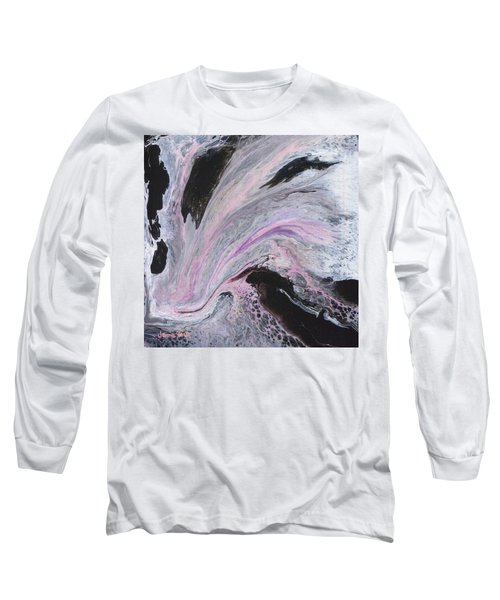 Long Sleeve T-Shirt featuring the painting White/black/pink by Jamie Frier