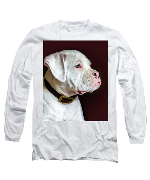 Long Sleeve T-Shirt featuring the photograph White Boxer Portrait by Dawn Romine