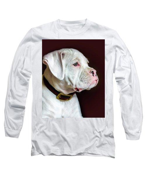 White Boxer Portrait Long Sleeve T-Shirt