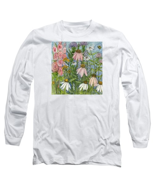 White Coneflowers In Garden Long Sleeve T-Shirt