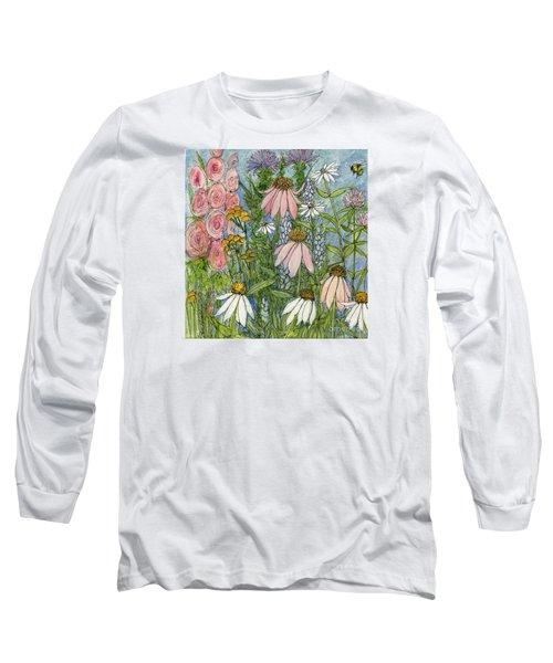 White Coneflowers In Garden Long Sleeve T-Shirt
