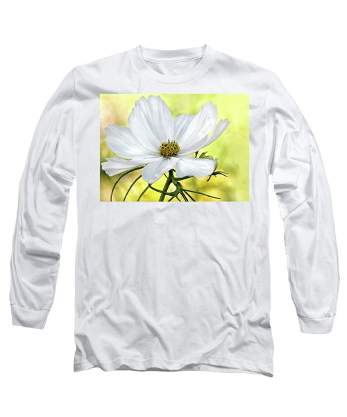 White Cosmos Floral Long Sleeve T-Shirt