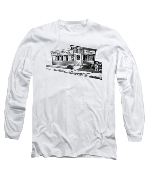 Long Sleeve T-Shirt featuring the drawing White Crystal Diner Nj Sketch by Edward Fielding