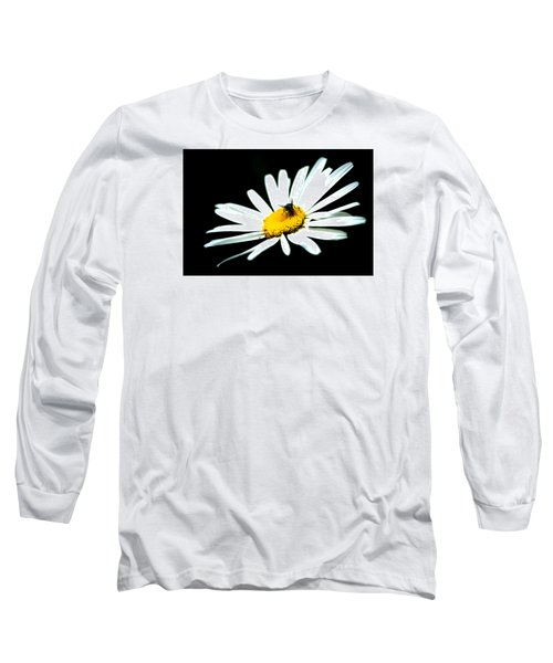 Long Sleeve T-Shirt featuring the photograph White Daisy Flower And A Fly by Alexander Senin