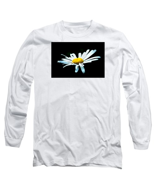 Long Sleeve T-Shirt featuring the photograph White Daisy Flower Black Background by Alexander Senin