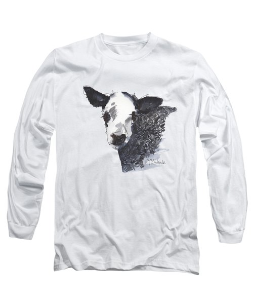 White Faced Hereferd Calf Baby Cow Long Sleeve T-Shirt by Kathleen McElwaine