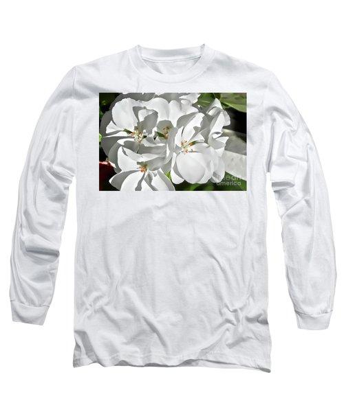 White Geraniums Long Sleeve T-Shirt