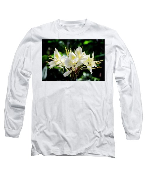 White Hawaiian Flowers Long Sleeve T-Shirt