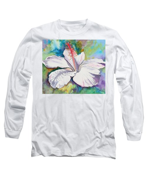 White Hibiscus Waimeae Long Sleeve T-Shirt