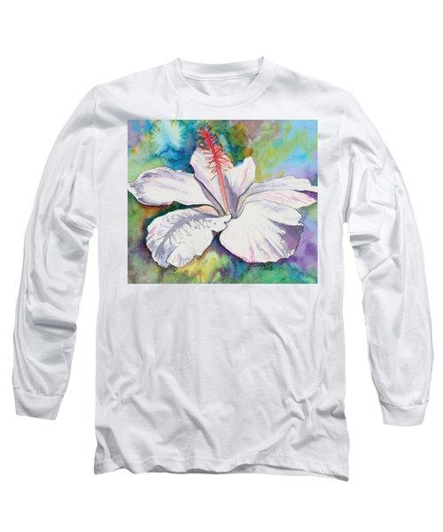 White Hibiscus Waimeae Long Sleeve T-Shirt by Marionette Taboniar