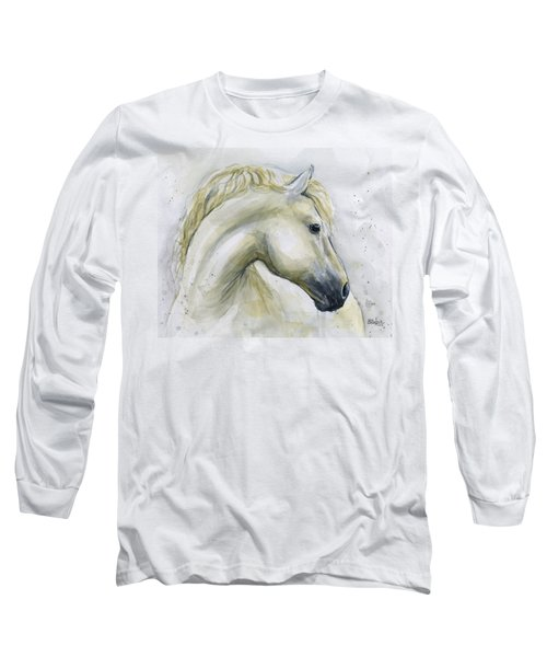 White Horse Watercolor Long Sleeve T-Shirt