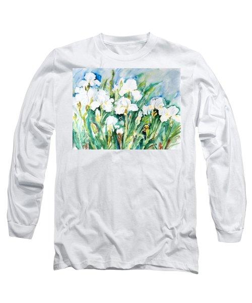 White Irises Long Sleeve T-Shirt by Alexandra Maria Ethlyn Cheshire