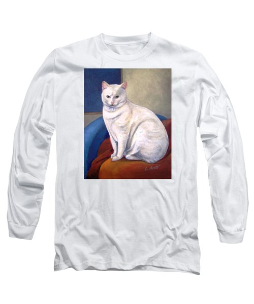Long Sleeve T-Shirt featuring the painting White Kitty by Laura Aceto