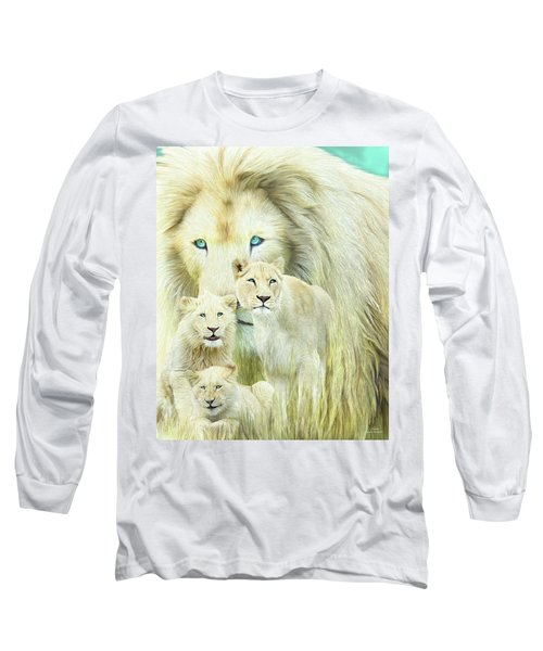 Long Sleeve T-Shirt featuring the mixed media White Lion Family - Forever by Carol Cavalaris