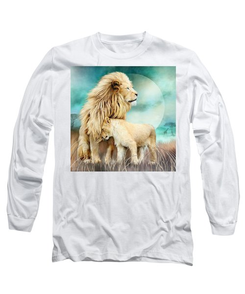 Long Sleeve T-Shirt featuring the mixed media White Lion Family - Protection by Carol Cavalaris