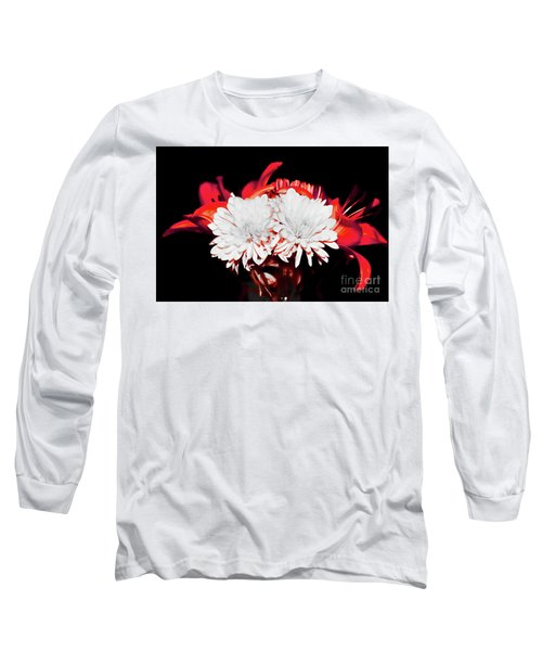 White Mums And Red Lilies Long Sleeve T-Shirt